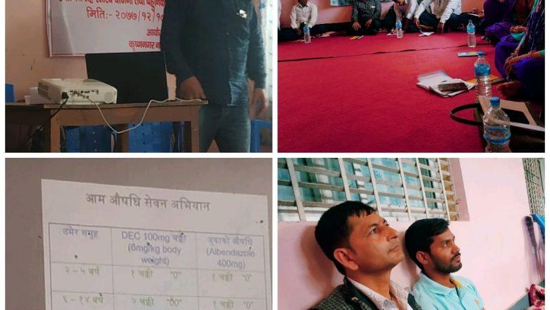 कृष्णनगर नगरपालिकामा हातिपाइले रोग बिरुद्दको औषधि खुवाईने